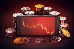 Cryptocurrency decline graph displayed on smartphone screen. Stock Photo