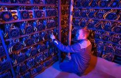 Cryptocurrency del bitcoin del minatore fotografia stock