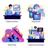 Cryptocurrency 2x2 Design Concept. Set of bitcoin mining finance market news and cryptocurrency transactions compositions flat vector illustration Stock Images