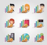 Cryptocurrency design concept. Icon set of graphic bar and people with cryptocurrency coins over gray background, colorful design vector illustration Stock Images