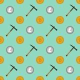 Cryptocurrency die naadloos patroon ontginnen Stock Afbeeldingen