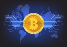 Cryptocurrency digital de Bitcoin con el fondo del mapa del mundo Fotografía de archivo