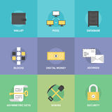 Cryptocurrency and digital money flat icons Royalty Free Stock Photos
