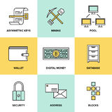 Cryptocurrency and digital money flat icons set. Flat line icons set of bitcoin digital money, cryptocurrency system and mining pool, security software Stock Image
