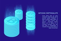 Cryptocurrency. Digital money market, investment, finance and trading. Perfect for web design, banner and presentation. Isometric vector illustration Stock Photos
