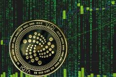 Cryptocurrency do miota do iota da moeda no fundo do texto da matriz e da carta criptos binários do preço imagem de stock