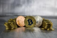 Cryptocurrency doge, bitcoin, litecoin Royalty Free Stock Image