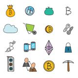 Cryptocurrency Doodle Icons Set. Cryptocurrency set of doodle icons with bitcoin and ethereum, wallet, mining elements, transaction security  vector illustration Royalty Free Stock Photo