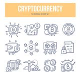 Cryptocurrency Doodle Icons. Doodle vector icons of blockchain cryptocurrency, bitcoin mining. Financial technology concepts Royalty Free Stock Photo