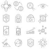 Cryptocurrency e ícones e símbolos de Blockchain Imagens de Stock