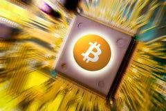 Cryptocurrency e blockchain virtuais - tecnologia financeira e imagem de stock