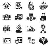 Cryptocurrency e grupo do ícone da mineração Imagem de Stock Royalty Free