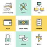 Cryptocurrency e iconos planos del dinero digital fijados libre illustration