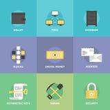 Cryptocurrency ed icone piane dei soldi digitali Fotografie Stock Libere da Diritti
