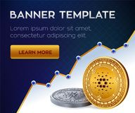 Cryptocurrency editable banner template. Cardano. 3D isometric Physical bit coin. Golden and silver Cardano coins. Stock vector il. Lustration Royalty Free Stock Photo