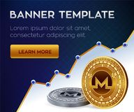Cryptocurrency editable banner template. Nem. 3D isometric Physical bit coin. Golden and silver Monero coins. Stock. Vector illustration Stock Photos