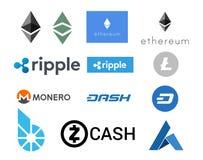 Cryptocurrency - ein Satz nützliche Illustrationen von digitalen Währungen Lizenzfreies Stockfoto