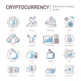 Сryptocurrency electronic virtual money vector digital currency icons web symbols infographic elements. Cryptocurrency electronic virtual money currency icons Stock Photo