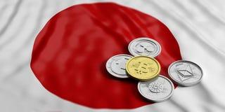Cryptocurrency em Japão O bitcoin e a variedade dourados das moedas virtuais de prata em Japão embandeiram o fundo ilustração 3D ilustração do vetor