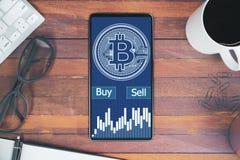 Cryptocurrency en bankwezenconcept Royalty-vrije Stock Afbeeldingen