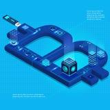 Cryptocurrency en blockchain isometrische samenstelling met bitcoinsymbool, chips, aanstekende gevolgen Stock Foto's