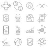 Cryptocurrency en de Pictogrammen en de Symbolen van Blockchain Stock Afbeeldingen