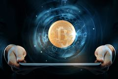Cryptocurrency en e-businessconcept Stock Foto