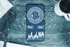 Cryptocurrency en financiënconcept Royalty-vrije Stock Afbeelding