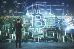 Cryptocurrency en financiënconcept Royalty-vrije Stock Afbeeldingen