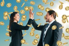 Cryptocurrency en financiënconcept stock foto's