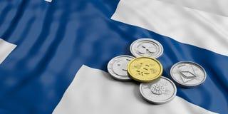 Cryptocurrency en Finlande Le bitcoin et la variété d'or de pièces de monnaie virtuelles argentées sur la Finlande marquent le fo illustration libre de droits