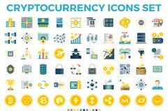 Cryptocurrency en van Blockchain Vlakke Pictogrammen Royalty-vrije Stock Fotografie