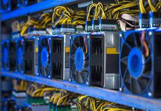 Cryptocurrency equipment mining royalty free stock photo