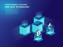 Cryptocurrency et blockchain isométriques Illustration de Vecteur