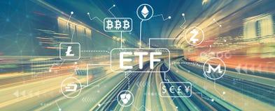 Cryptocurrency ETF tema med snabb rörelsesuddighet royaltyfria bilder