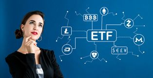 Cryptocurrency ETF theme with business woman royalty free stock images