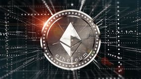 Virtual Ethereum crypto-currency background Stock Image