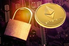 Cryptocurrency Ethereum de Digitas Dinheiro da moeda de Ethereum com imagem tonificada ascendente próxima do cadeado e do cartão- Fotos de Stock Royalty Free