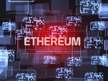 Cryptocurrency Ethereum. Future technology block chain cryptocurrency Ethereum red touchscreen interface. Blockchain financial virtual money wallet screen Royalty Free Stock Images