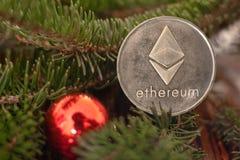 Cryptocurrency Ethereum på filialerna av granen royaltyfria foton