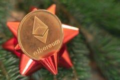Cryptocurrency Ethereum på filialerna av granen royaltyfri foto
