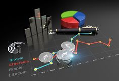 Virtual Ethereum cryptocurrency financial market graph. Cryptocurrency Ethereum and virtual financial currency market exchange Royalty Free Stock Image