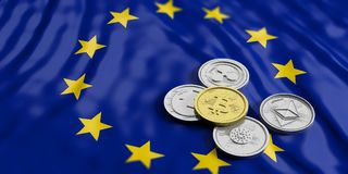 Cryptocurrency in EU. Golden bitcoin and variety of silver virtual coins on European Union flag background. 3d illustration. Cryptocurrency in EU concept. Golden royalty free stock image