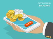 Cryptocurrency exchange flat isometric vector concept. Hand is holding a smartphone with bitcoins, ethereum and litecoins on it and a button EXCHANGE Stock Images
