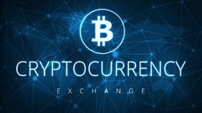 Cryptocurrency exchange futuristic hud banner. Stock Image