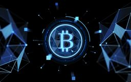 Blue bitcoin projection over black background Royalty Free Stock Image