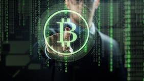 Close up of businessman with bitcoin hologram Stock Photos
