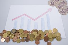 Cryptocurrency, financial graphic with bitcoins and euro coins stock images