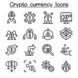 Cryptocurrency & Fintech icon set in thin line style Stock Images