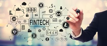 Cryptocurrency fintech theme with businessman royalty free stock photo
